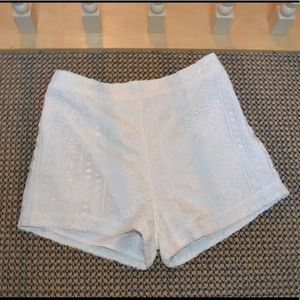 Hollister white crochet shorts